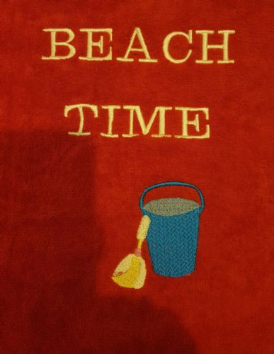 Personalised embroidered red beach time towel
